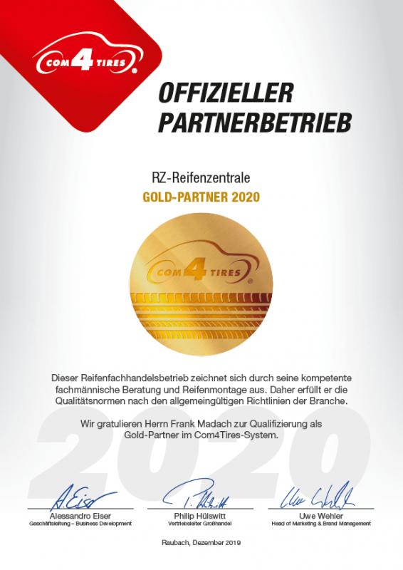 Foto Com4Tires 2020 Partnerzertifikat